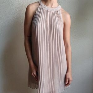 Nude Pleated Dress from One Clothing